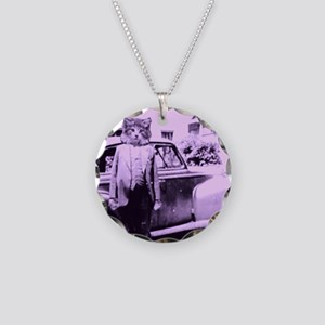 The Cat driver Necklace Circle Charm