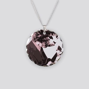 Cat Music Style Necklace Circle Charm