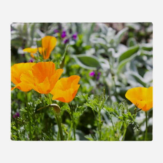 California Poppies in the Garden Throw Blanket