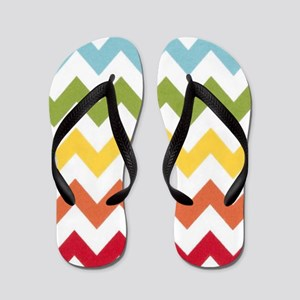 Classy rainbow chevron stripes Flip Flops