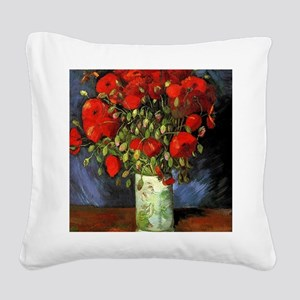 Vase with Red Poppies by Van  Square Canvas Pillow