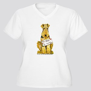 Airedale Terrier Bark for Food Women's Plus Size V