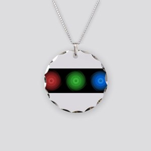 abstract rgb lights Necklace Circle Charm