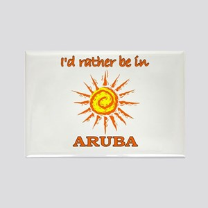 I'd Rather Be In Aruba Rectangle Magnet