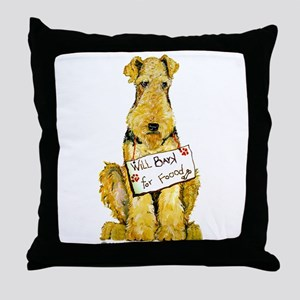 Airedale Terrier Bark for Food Throw Pillow