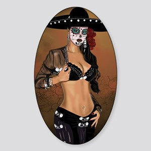 Mariachi Pin-up Art Sticker (Oval)
