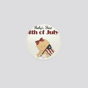 Girl Babys First 4th of July Mini Button