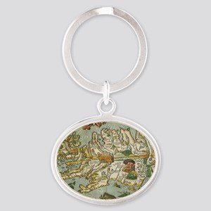 Iceland Map 1590 Oval Keychain