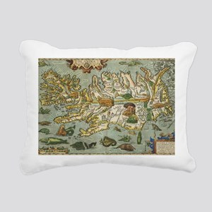 Iceland Map 1590 Rectangular Canvas Pillow