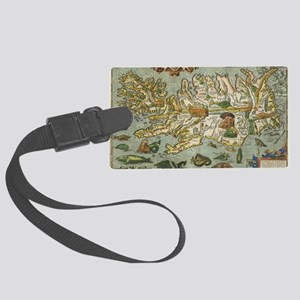 Iceland Map 1590 Large Luggage Tag