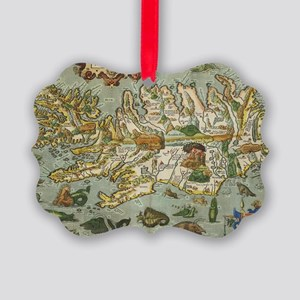 Iceland Map 1590 Picture Ornament