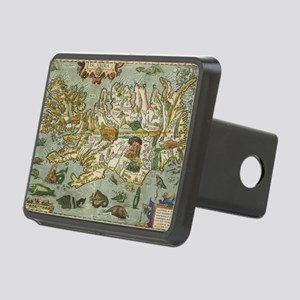 Iceland Map 1590 Rectangular Hitch Cover