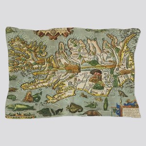 Iceland Map 1590 Pillow Case