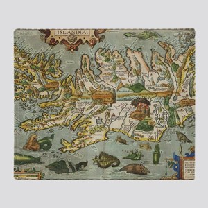 Iceland Map 1590 Throw Blanket