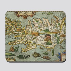 Iceland Map 1590 Mousepad