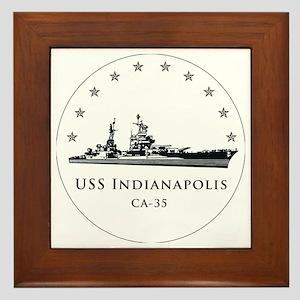 USS Indianapolis Image Round Framed Tile