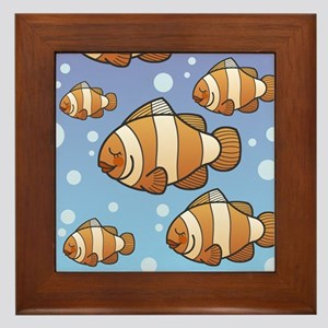 Clown Fish School Framed Tile
