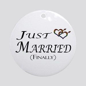 Finally Married Gay Pride Ornament (Round)