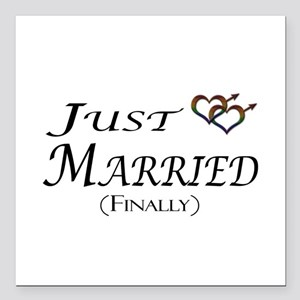 "Finally Married Gay Prid Square Car Magnet 3"" x 3"""