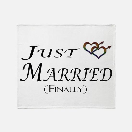 Finally Married Gay Pride Throw Blanket