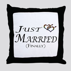 Finally Married Gay Pride Throw Pillow