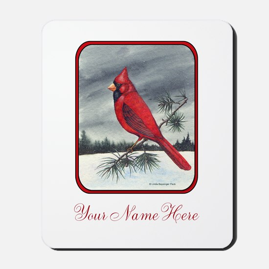 Red Northern Cardinal Bird Personalize Mousepad