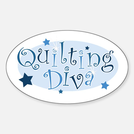 """Quilting Diva"" [blue] Oval Decal"