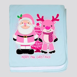 Merry Pink Christmas! baby blanket