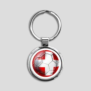 Switzerland Football Round Keychain