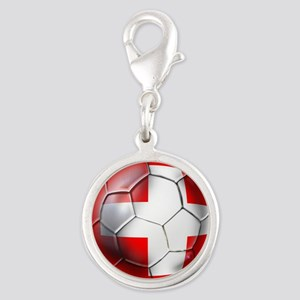 Switzerland Football Silver Round Charm