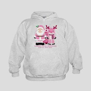 Personalize Pink Santa! Kids Hoodie