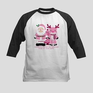 Personalize Pink Santa! Kids Baseball Jersey