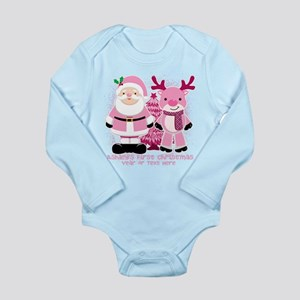 Personalize Pink Santa! Long Sleeve Infant Bodysui