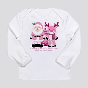 Personalize Pink Santa! Long Sleeve Infant T-Shirt