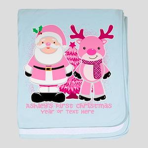 Personalize Pink Santa! baby blanket