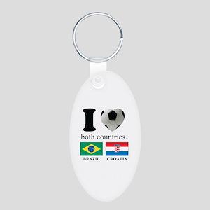 BRAZIL-CROATIA Aluminum Oval Keychain