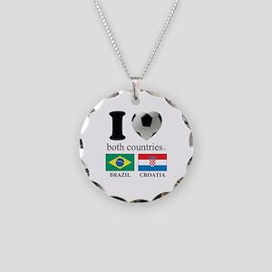 BRAZIL-CROATIA Necklace Circle Charm