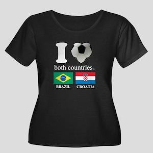 BRAZIL-CROATIA Women's Plus Size Scoop Neck Dark T