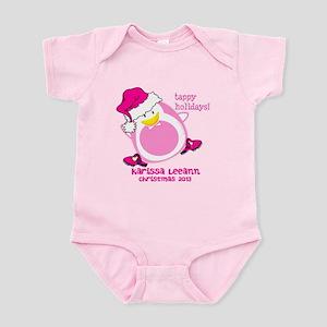 Personalize Pink Dancing Penguin Infant Bodysuit