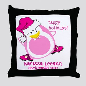 Personalize Pink Dancing Penguin Throw Pillow