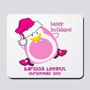 Personalize Pink Dancing Penguin Mousepad