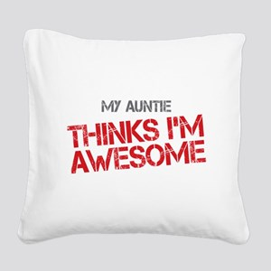 Auntie Awesome Square Canvas Pillow