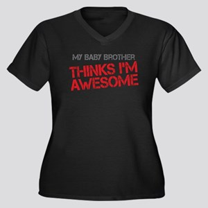 Baby Brother Awesome Women's Plus Size V-Neck Dark