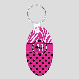 Pink Black Dot Zebra Persoanlized Keychains
