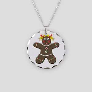 Gingerbread Girl Necklace Circle Charm