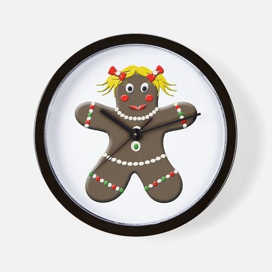 Gingerbread Girl Christmas Wall Clock