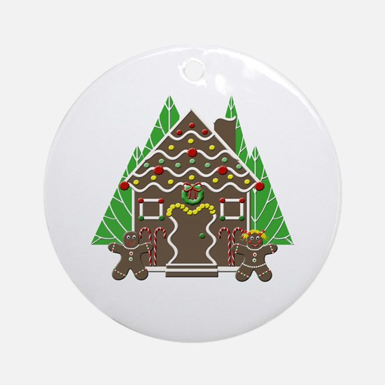 Cute Gingerbread House Ornament (Round)