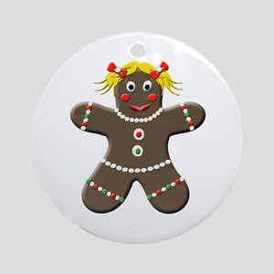 Gingerbread Girl Christmas Ornament (Round)