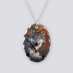 Wolf Wolves Lovers Necklace Oval Charm