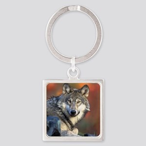 Wolf Wolves Lovers Square Keychain